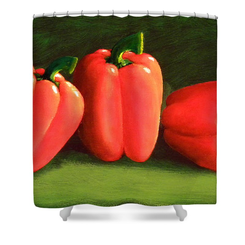 Peppers Shower Curtain featuring the painting Deep Red Peppers by Frank Wilson