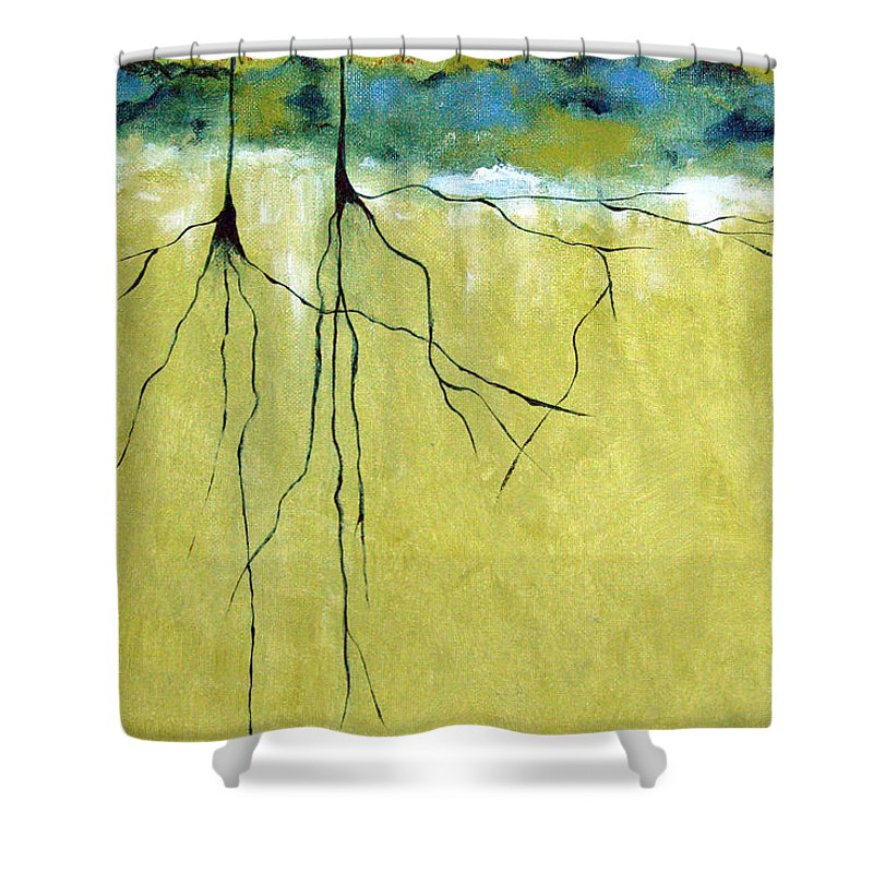 Abstract Shower Curtain featuring the painting Deep Roots by Ruth Palmer
