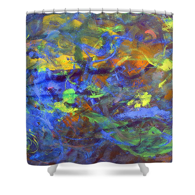 Abstract Shower Curtain featuring the painting Deep Space Abstract Art by Lee Serenethos