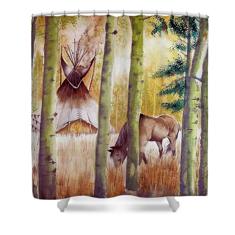 American Shower Curtain featuring the painting Deep Woods Camp by Jimmy Smith