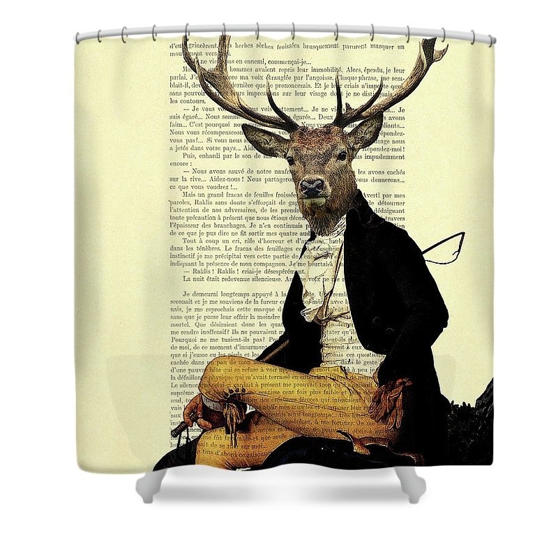 Buck Deer Digital Art Shower Curtains