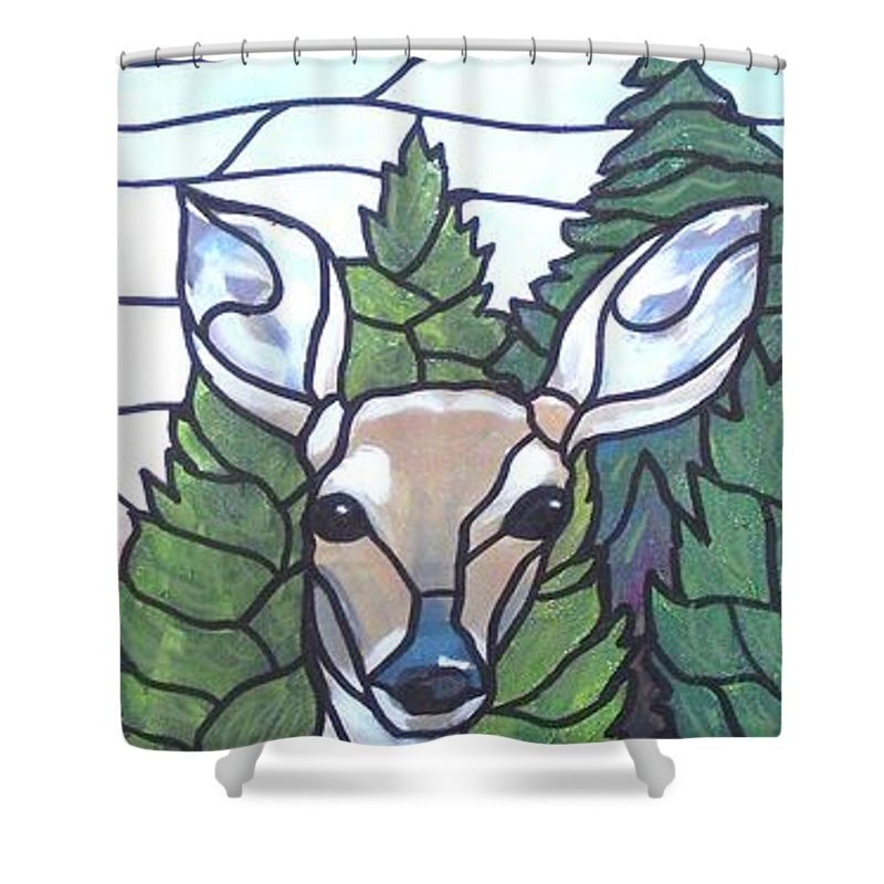 Deer Shower Curtain featuring the painting Deer Scene by Jim Harris