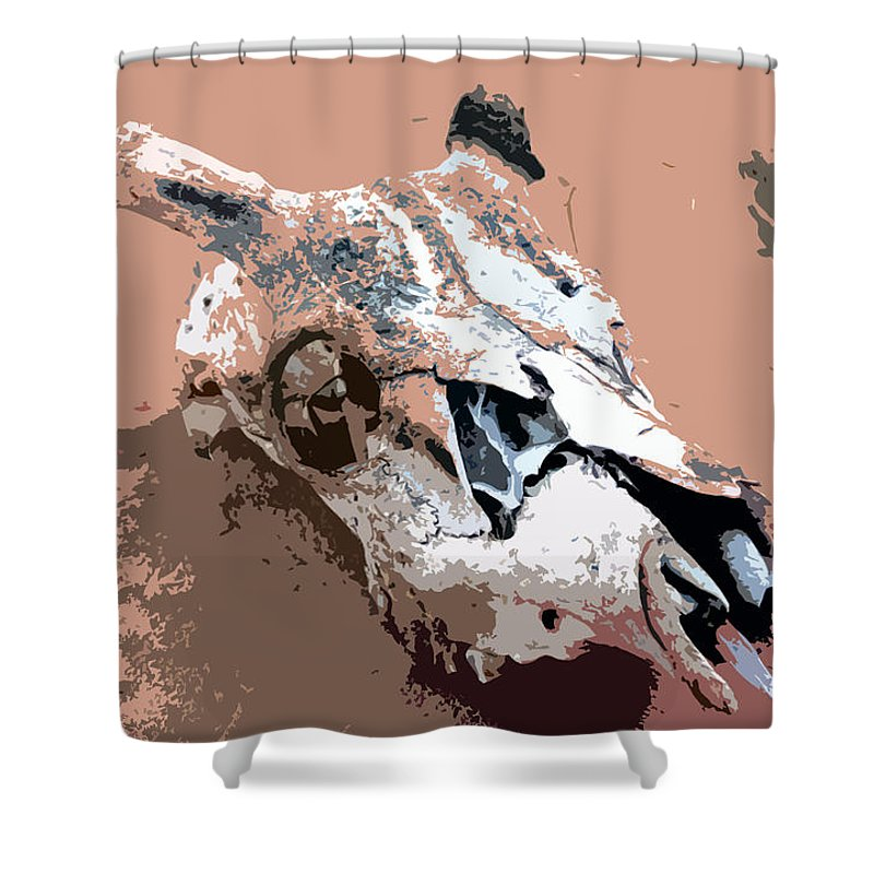 Skull Shower Curtain featuring the painting Deer Spirit by David Lee Thompson