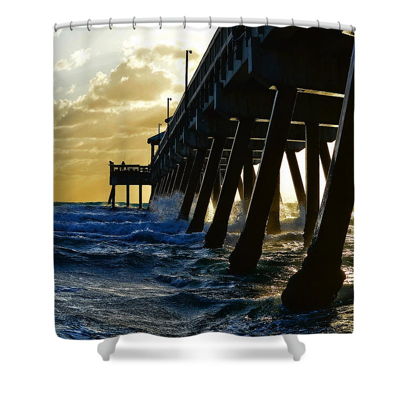 Deerfield Beach Shower Curtain featuring the photograph Deerfield Beach Pier At Sunrise by Paul Cook
