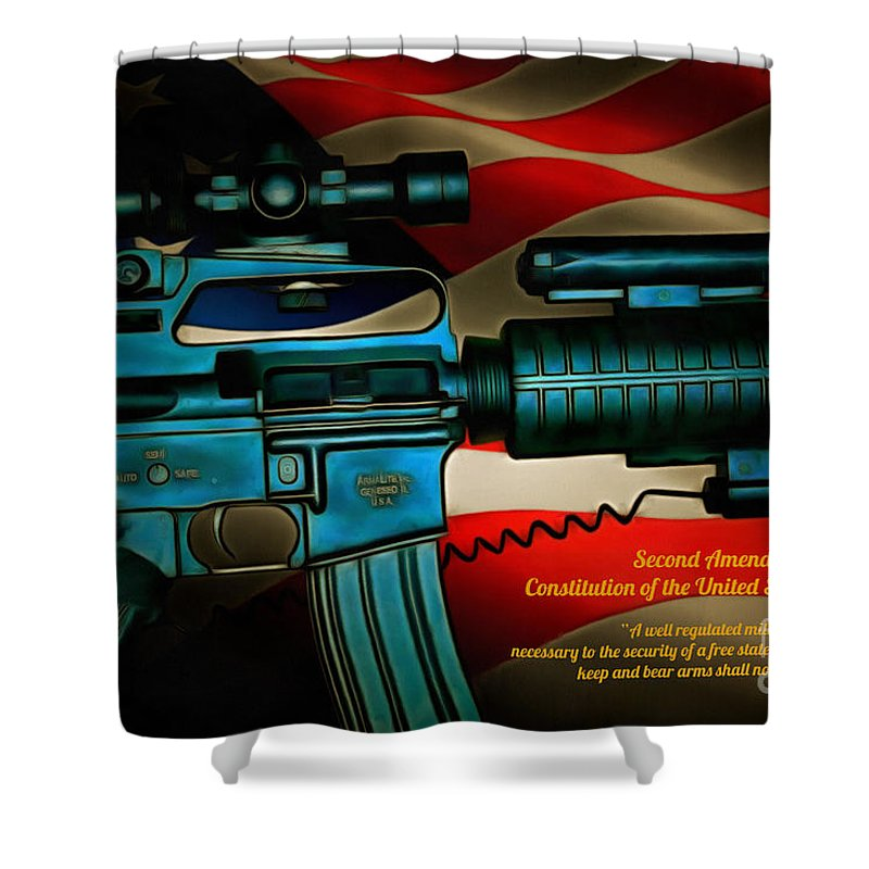 America Shower Curtain featuring the digital art Defender Of Freedom - 2nd Ammendment by Tommy Anderson