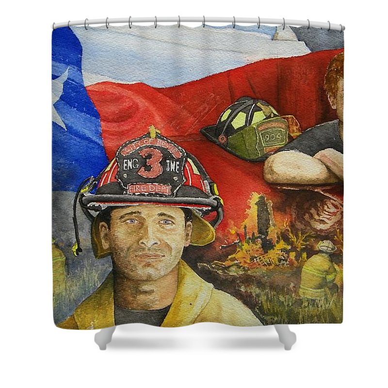 Firemen Shower Curtain featuring the painting Defending Texas by Gale Cochran-Smith