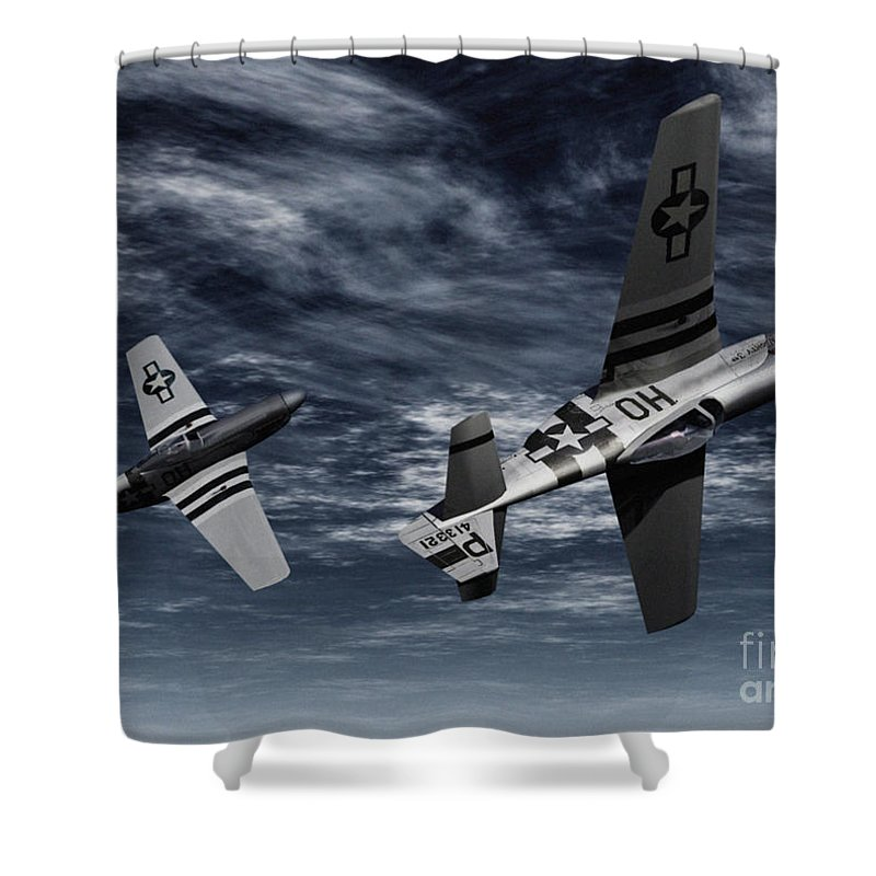 Aircombat Shower Curtain featuring the digital art Defensive Split by Richard Rizzo