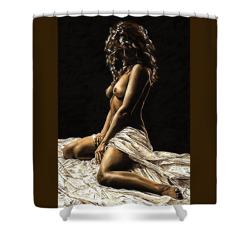 Nude Shower Curtain featuring the painting Defiance by Richard Young
