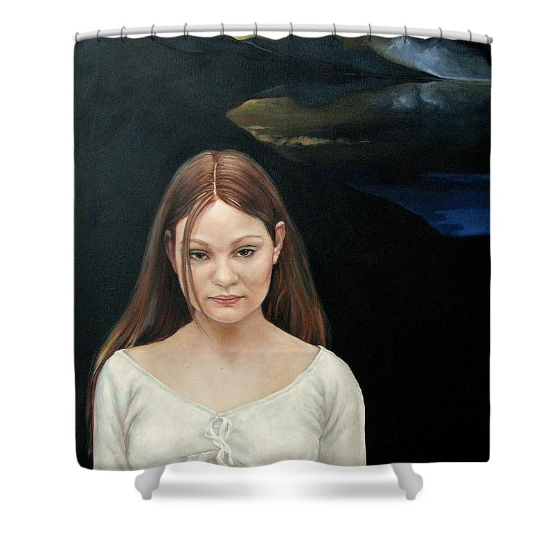 Facial Expressioin Shower Curtain featuring the painting Defiant Girl 2004 by Jerrold Carton