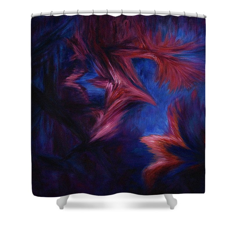 Abstract Shower Curtain featuring the painting Deja Vu by Rachel Christine Nowicki