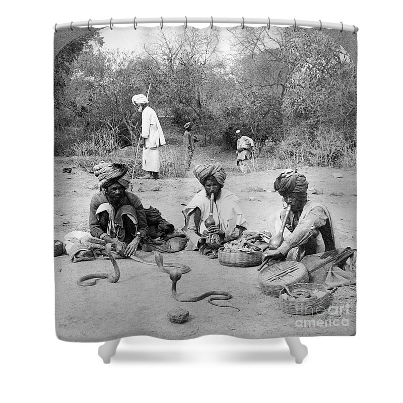 1903 Shower Curtain featuring the photograph Delhi: Snake Charmers by Granger