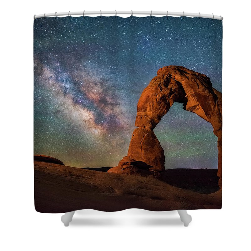 Delicate Arch Shower Curtain featuring the photograph Delicate Air Glow by Darren White