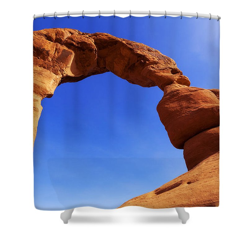 Outdoor Shower Curtain featuring the photograph Delicate Arch by Chad Dutson