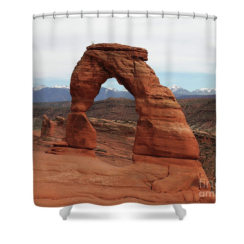 Delicate Arch Arches National Park Usa Sandstone Nature Shower Curtain featuring the photograph Delicate Arch by Daniel Klein