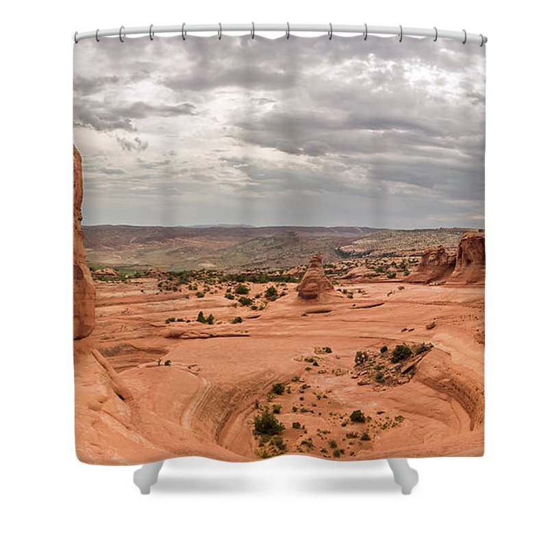 3scape Photos Shower Curtain featuring the photograph Delicate Arch Panoramic by Adam Romanowicz