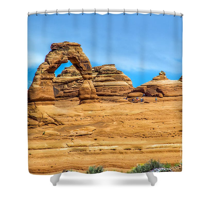 Arches Shower Curtain featuring the photograph Delicate Arch by Roberta Bragan