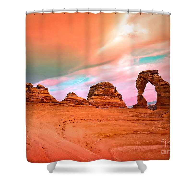 Delicate Arch Shower Curtain featuring the photograph Delicate Arch by Tara Turner