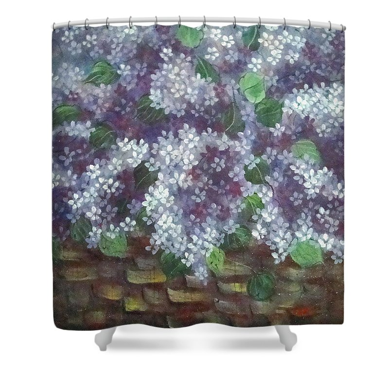 Perfumed Lilacs Greeting Cards Shower Curtain featuring the painting Delicate Perfumed Lilacs by Natalie Holland