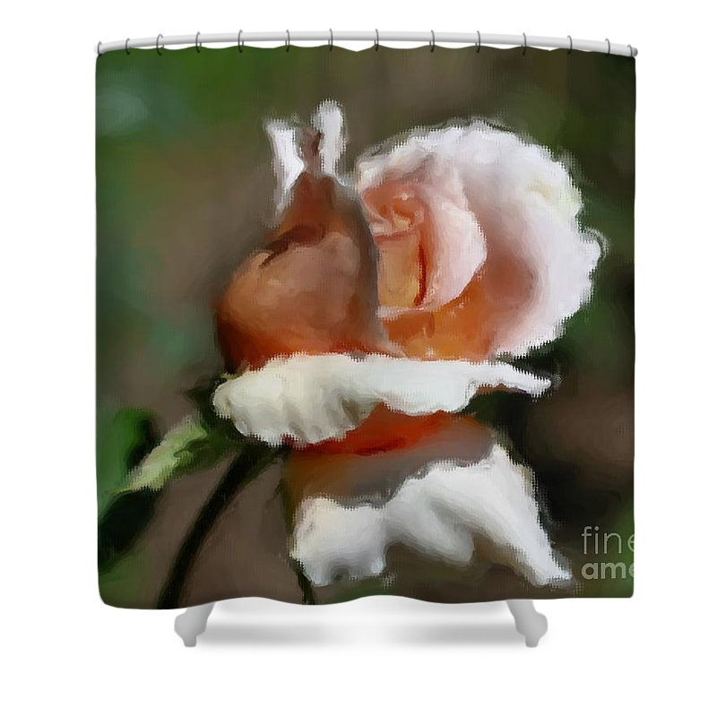 Flower Shower Curtain featuring the painting Delicate Rosebud by Smilin Eyes Treasures