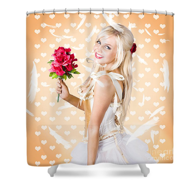 Romance Shower Curtain featuring the photograph Delicate Young Woman Holding Flower Bunch by Jorgo Photography - Wall Art Gallery