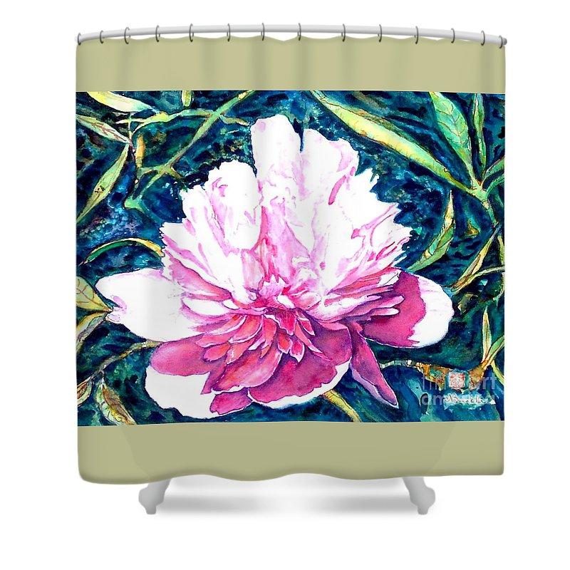 Peony Shower Curtain featuring the painting Delightful Peony by Norma Boeckler
