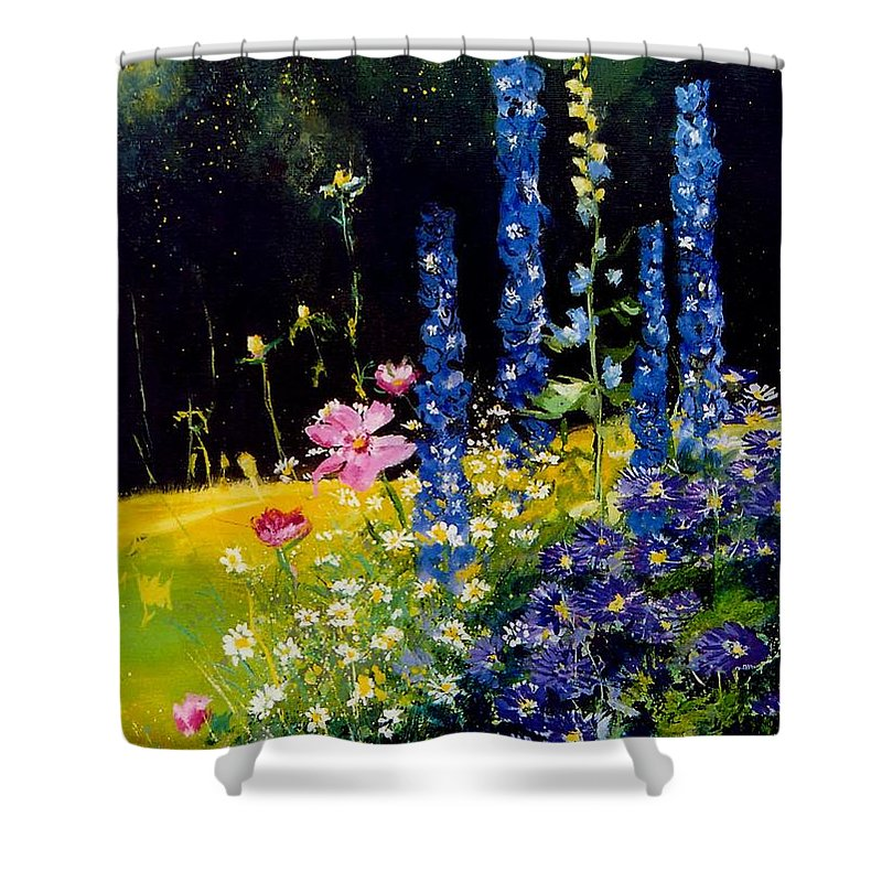 Poppies Shower Curtain featuring the painting Delphiniums by Pol Ledent
