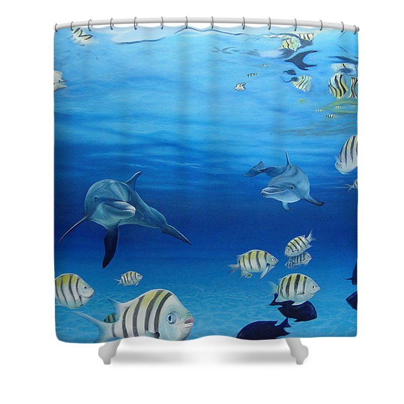 Seascape Shower Curtain featuring the painting Delphinus by Angel Ortiz