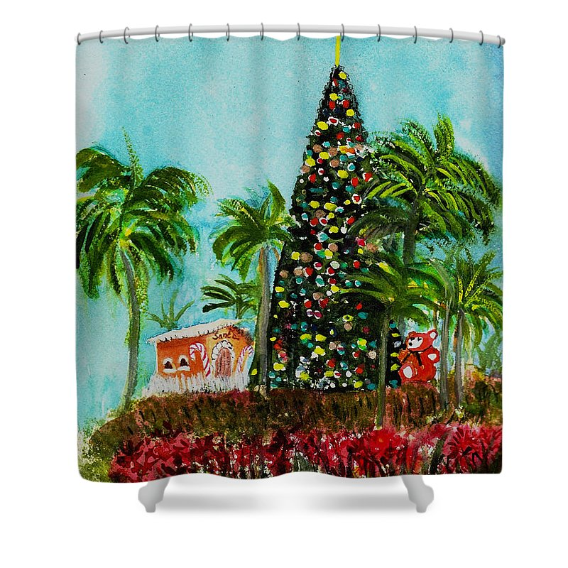 Delray Beach Shower Curtain featuring the painting Delray Beach Christmas Tree by Donna Walsh