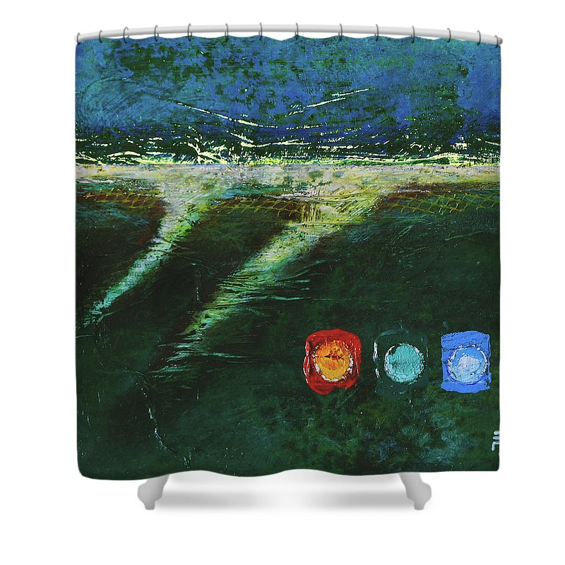 Painting Shower Curtain featuring the painting Delta by Jean-luc Lacroix