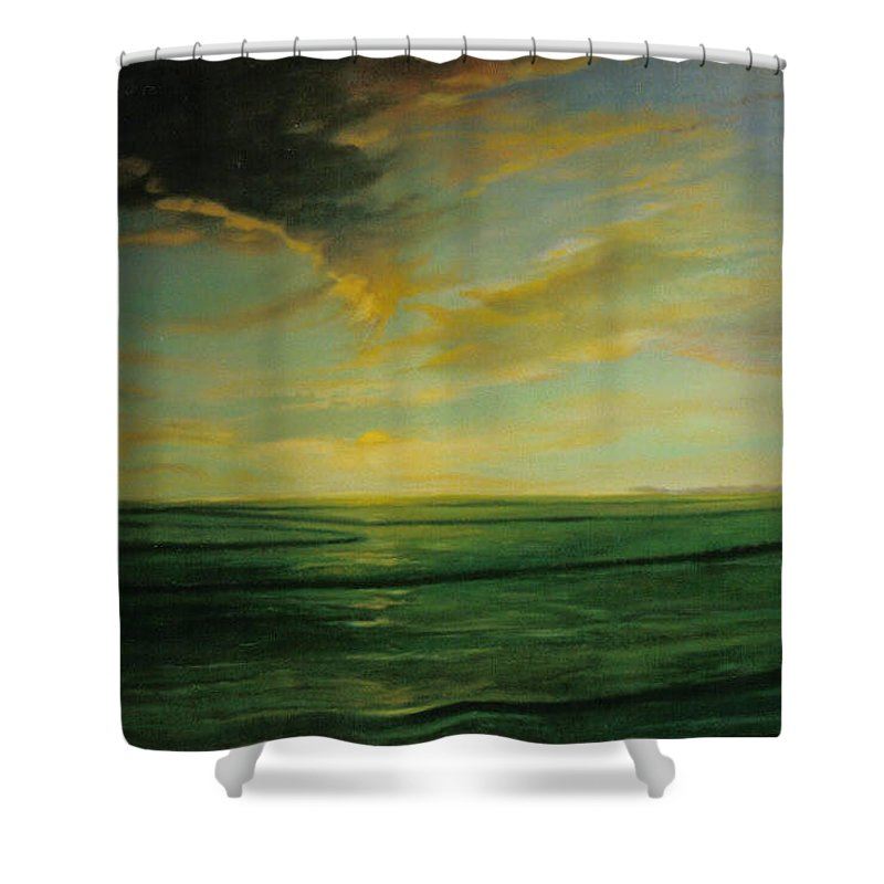Landscape Shower Curtain featuring the painting Delta Rice by John L Campbell