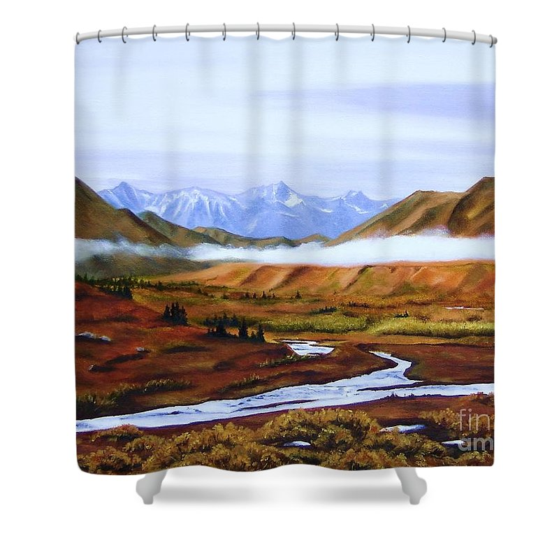 Art Shower Curtain featuring the painting Denali Autumn by Mary Rogers