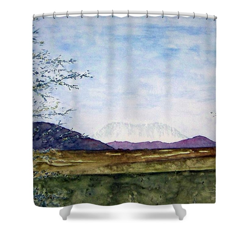 Alaska Art Shower Curtain featuring the painting Denali In July by Larry Wright
