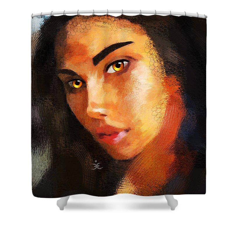 Woman Shower Curtain featuring the painting Denebris 766 by Maciej Mackiewicz