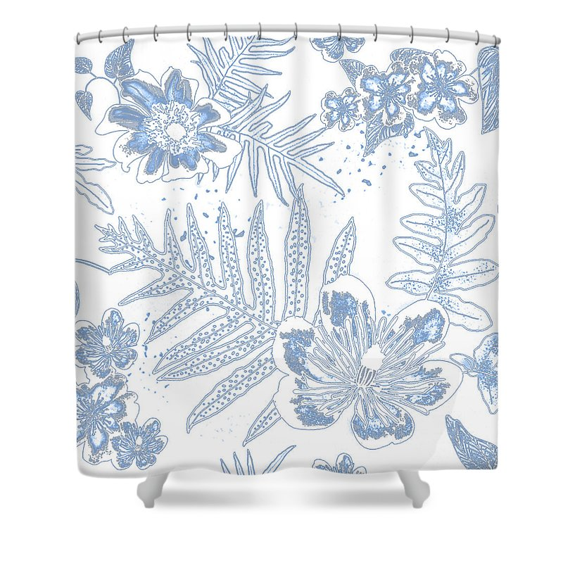 Ferns Shower Curtain Featuring The Digital Art Denim Fern Batik Outline By Karen Dyson