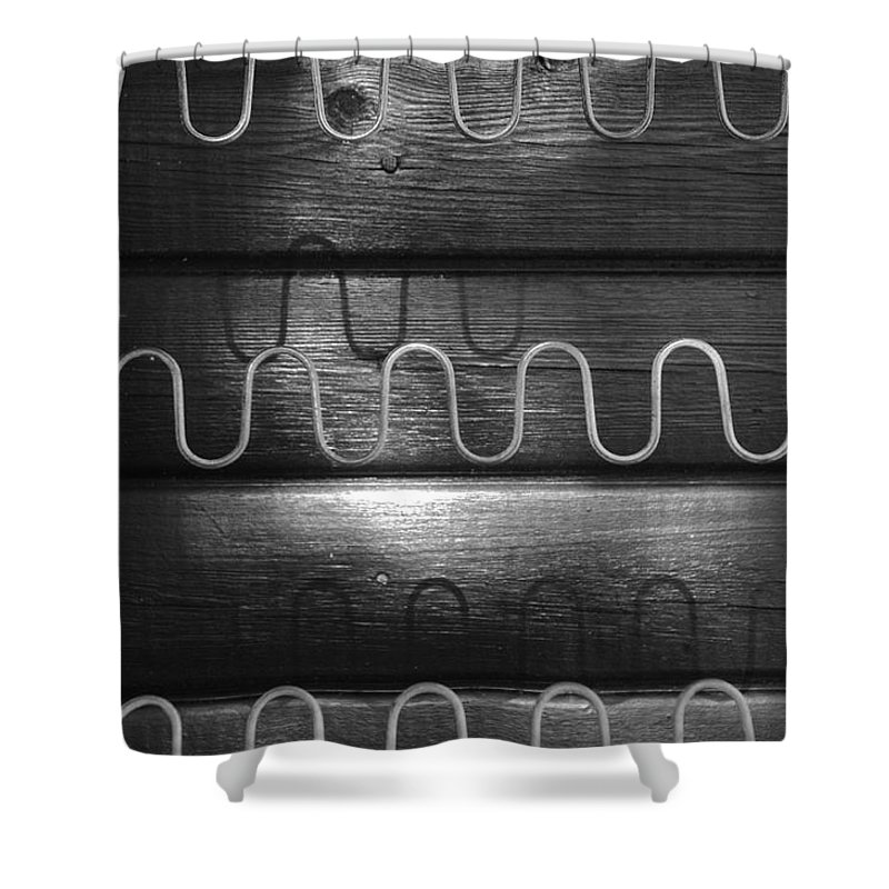 Abstract Shower Curtain featuring the photograph Denmark Abstract Of Chair Springs by Keenpress