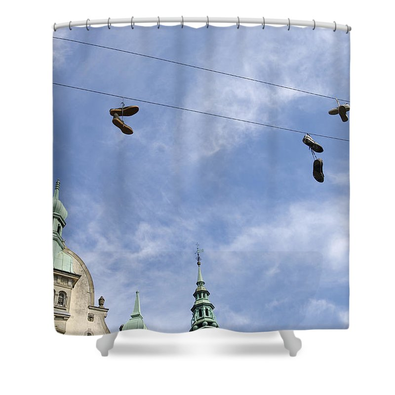 Amager Torv Shower Curtain featuring the photograph Denmark, Copenhagen, Amager Torv, Shoes by Sisse Brimberg & Cotton Coulson