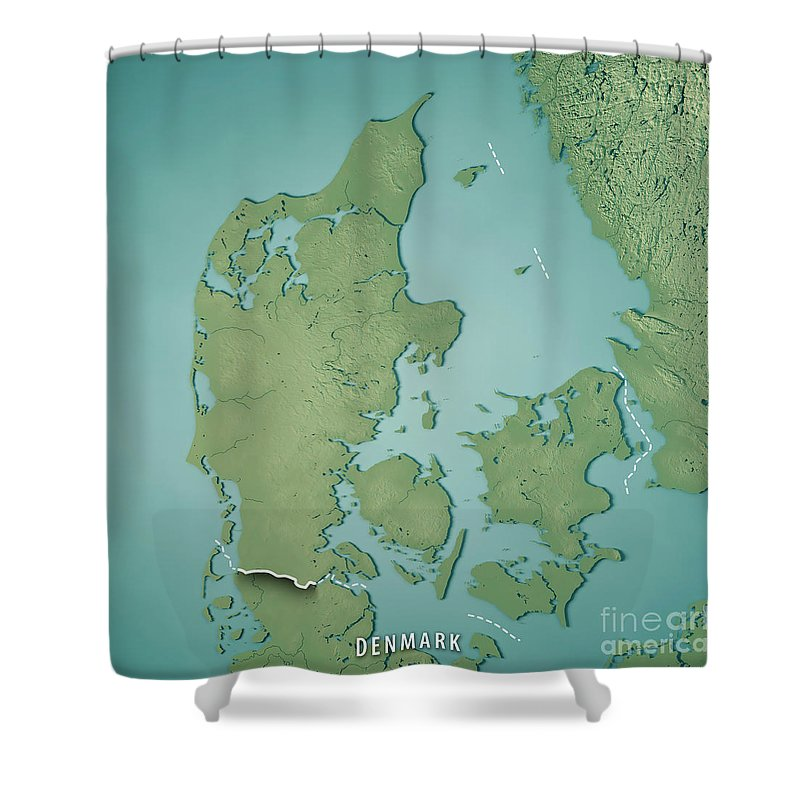 Denmark Topographic Map.Denmark Country 3d Render Topographic Map Border Shower Curtain For
