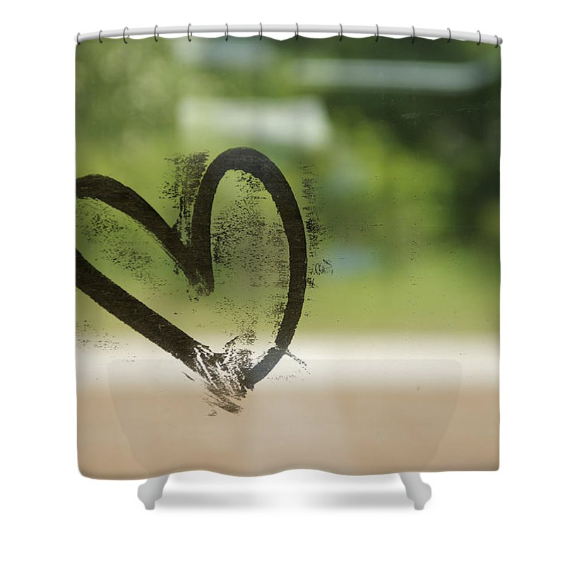 Close-up Shower Curtain featuring the photograph Denmark, Graffiti Of Heart On Train by Keenpress