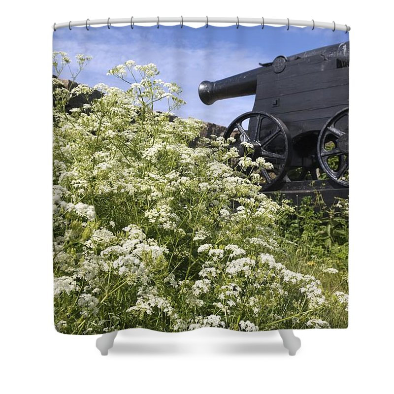 Nobody Shower Curtain featuring the photograph Denmark, Old Cannon On Bastion by Keenpress