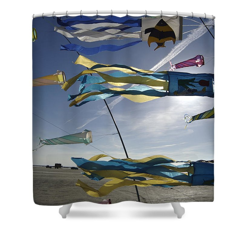 Nobody Shower Curtain featuring the photograph Denmark, Romo, Kites Flying At Beach by Keenpress