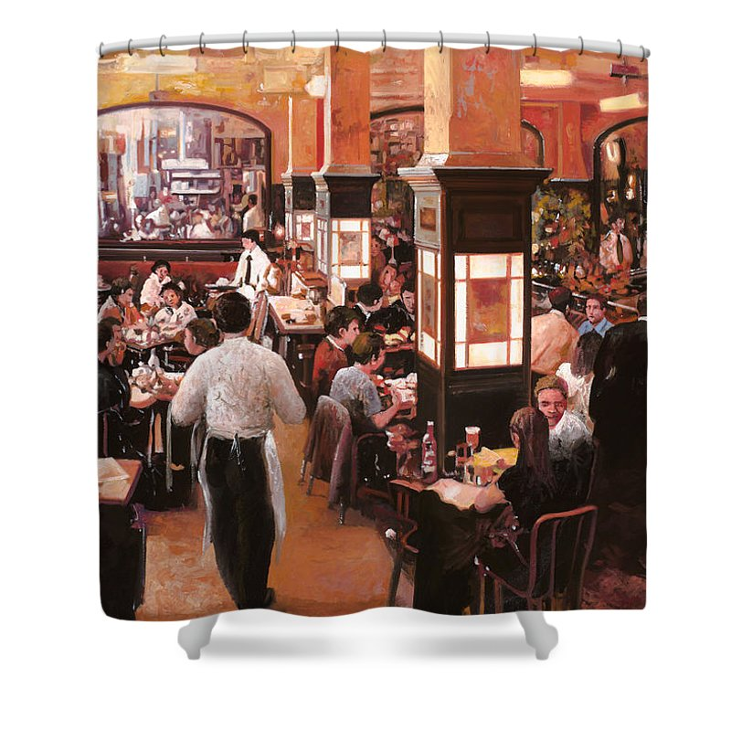 Coffee Shop Shower Curtain featuring the painting Dentro Il Caffe by Guido Borelli