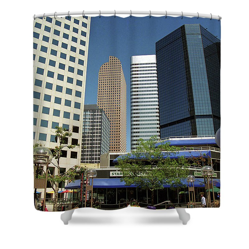 16th Shower Curtain featuring the photograph Denver Architecture by Frank Romeo