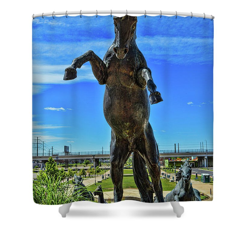Denver Broncos Shower Curtain Featuring The Photograph Mile High Stadium 4 By Tommy Anderson