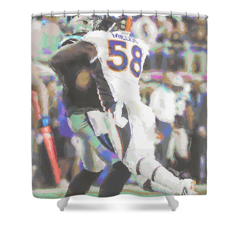 Von Miller Shower Curtain Featuring The Photograph Denver Broncos By Joe Hamilton