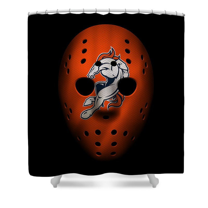 Broncos Shower Curtain Featuring The Photograph Denver War Mask 2 By Joe Hamilton