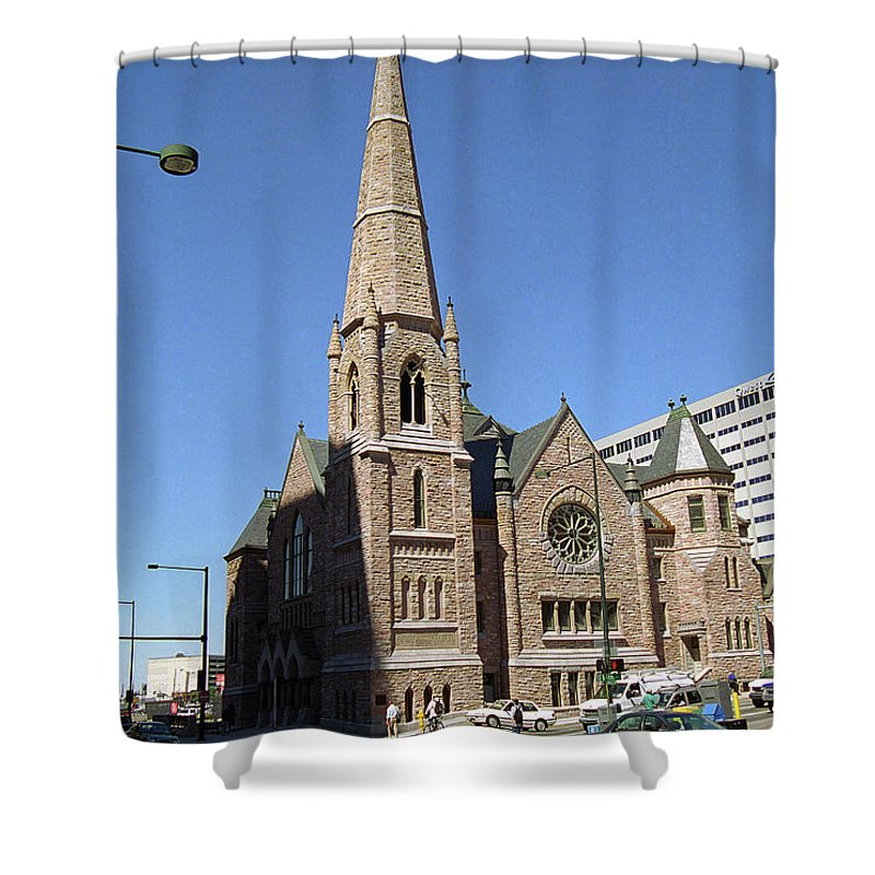 16th Shower Curtain featuring the photograph Denver Downtown Church by Frank Romeo