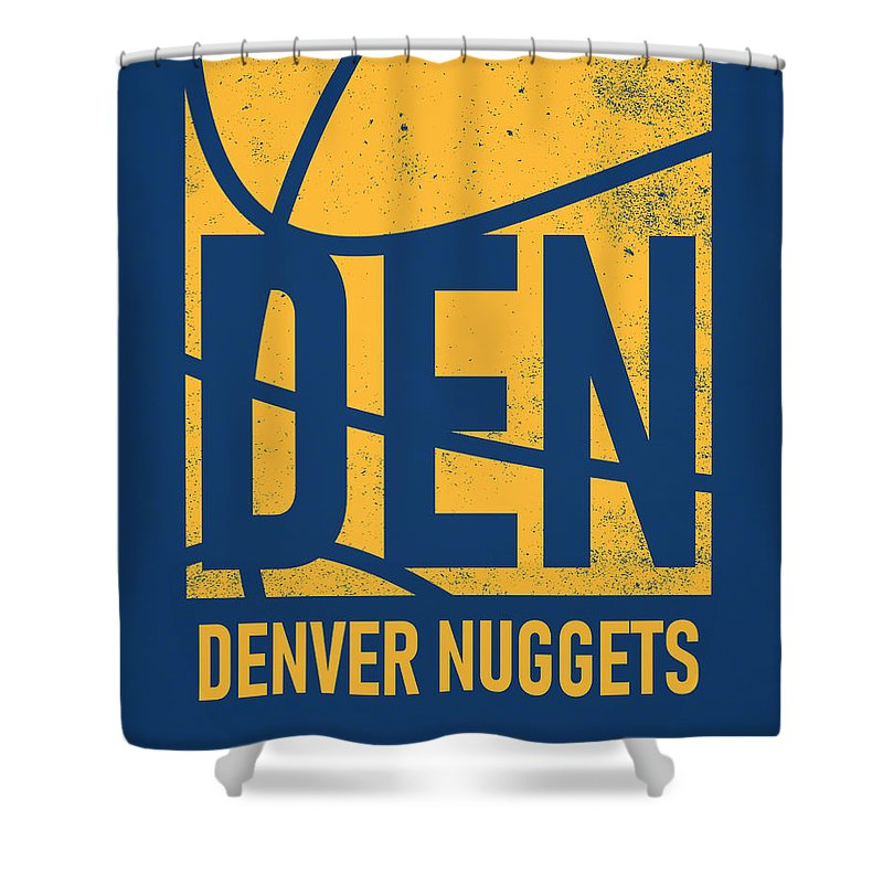 Nuggets Shower Curtain featuring the mixed media Denver Nuggets City Poster Art by Joe Hamilton