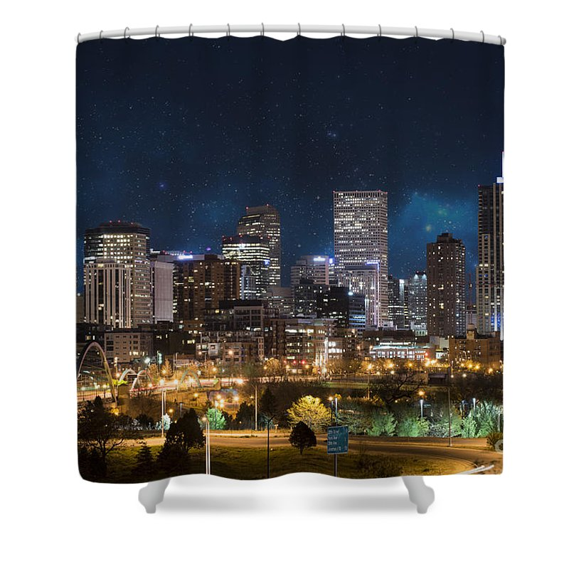America Shower Curtain featuring the photograph Denver Under A Night Sky by Juli Scalzi