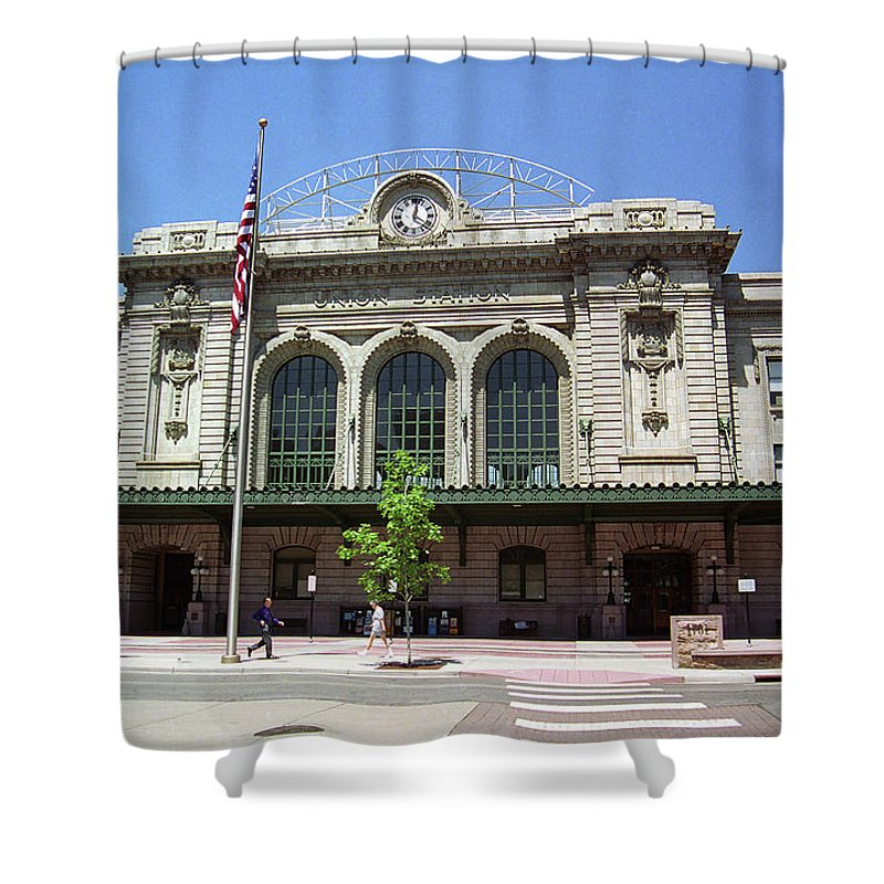 America Shower Curtain featuring the photograph Denver - Union Station Film by Frank Romeo