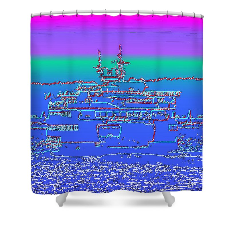 Digital Photo Manipulation Shower Curtain featuring the photograph Departing Ferry by Tim Allen